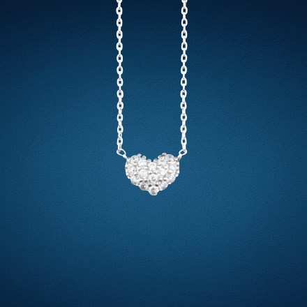 Crystal Heart Pendant Necklace 5829
