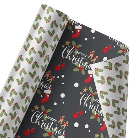 Merry Christmas Gingerbread Reversible Wrap 1458
