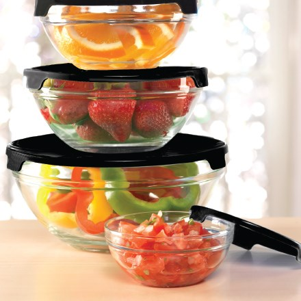 Glass Prep Bowls With Black Lids S/5 7193