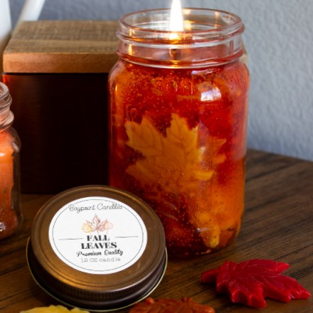Fall Leaves Mason Jar Gel Candle 9381