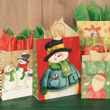 Holiday Kraft Gift Bags S/10 1647