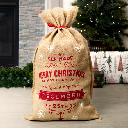 Don't Open Until Dec. 25th Burlap Gift Bag 3111
