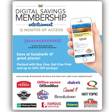 Entertainment Digital Savings Membership Voucher 3298