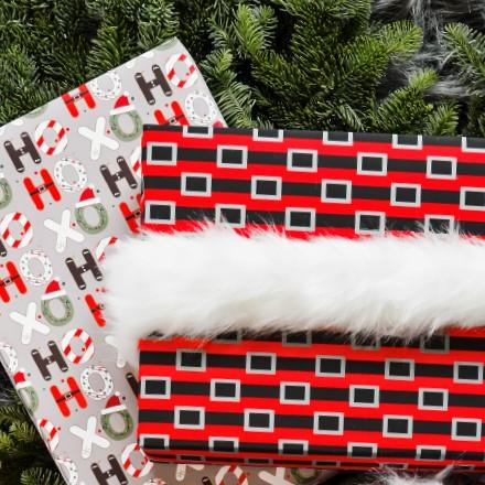 Santa's Belt Ho Ho Ho Reversible Wrap 1656