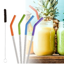 Silicone & Steel Straws S/4 3208