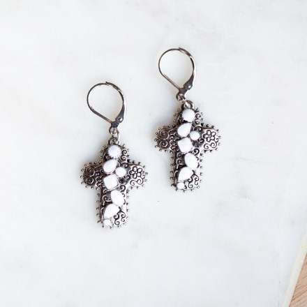 Silver and Stone Cross Earrings 2863