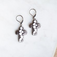 Silver & Stone Cross Earrings 2863