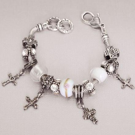 Pandora Style Cross Charm Bracelet 2802