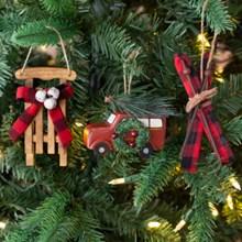 Rustic Ornaments S/3 3135