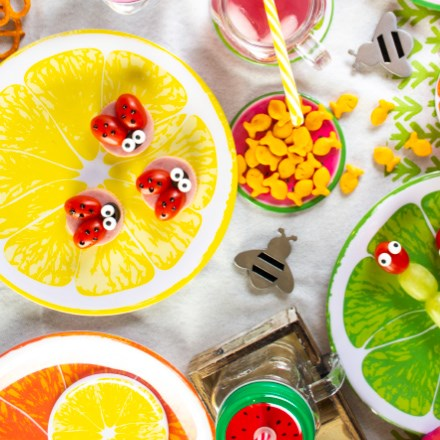 Colorful Melamine Plate & Coaster Set S/8 7208