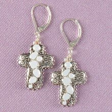 Silver & Stone Cross Earrings 2813