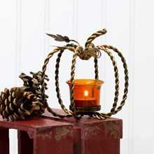 Pumpkin Twist Metal Tealight Candle Holder 3300