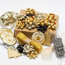 Black & Gold Ribbon, Bow & Tag Set 1694