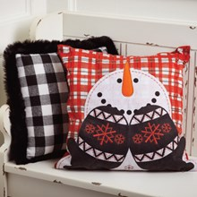 Snowman Embroidered Pillow Cover 8205