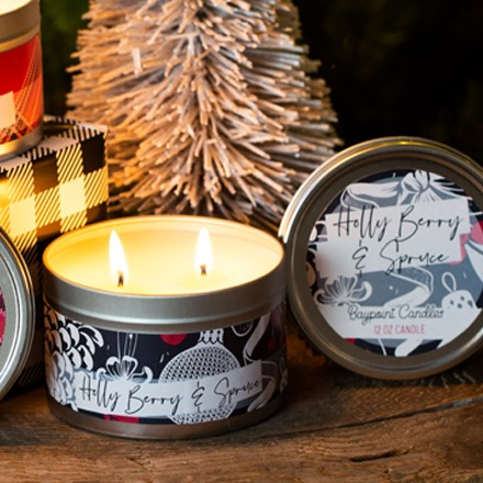 Holly Berry & Spruce Tin Candle 5512