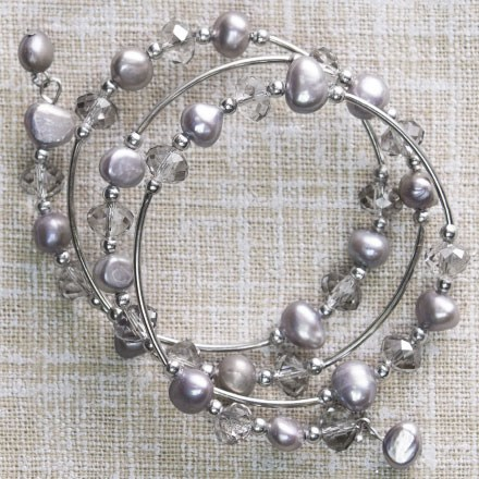 Freshwater Pearl & Crystal Coil Bracelet 2612
