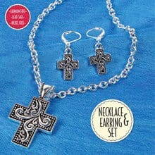 Cross Necklace & Earrings Set 2911