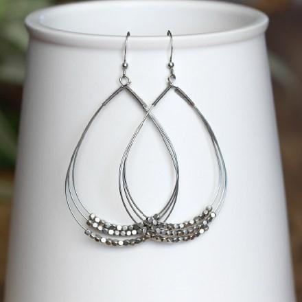 Triple Beaded Hoop Earrings 2925