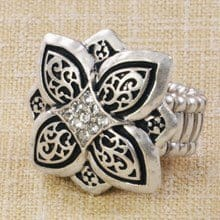 Diamond Flower Burst Stretch Ring 2760