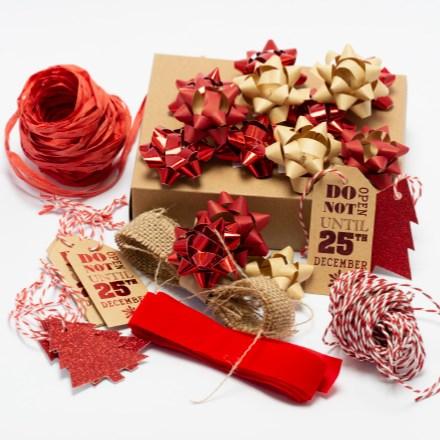 Red Rustic Ribbon, Bow & Tag Set 1705